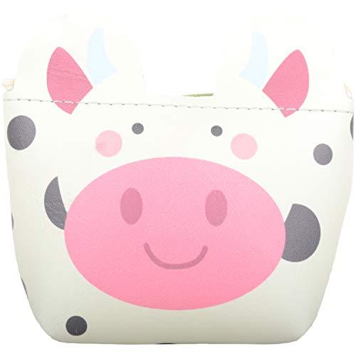 Geldbörse für Kinder und Mädchen, Kunstleder, Tiermotiv, mit Schlüsselring, Weiß - kuh - Größe: Einheitsgröße