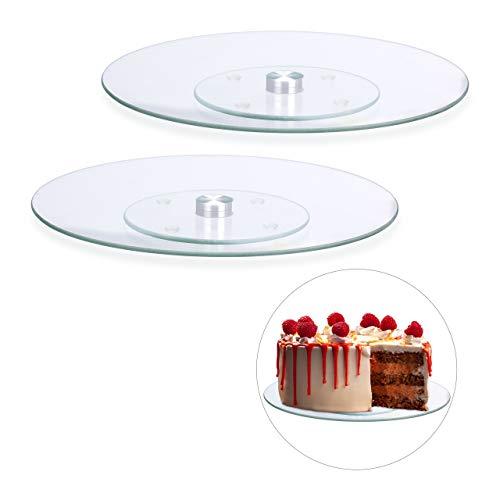 Relaxdays 2 x Tortenplatte, 360º drehbar, ∅ 30 cm, zum Servieren & Dekorieren, Kuchen, runder Drehteller, Glas, transparent