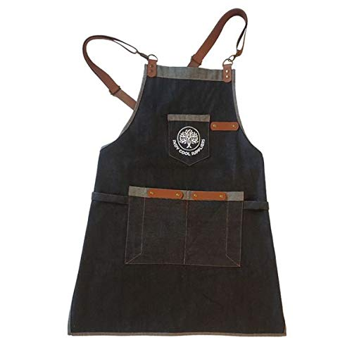Indy Cool Suppliers Denim & Leather BBQ Apron Cross-Back BBQ Apron (Unisex Design) 100% Cotton Black Kitchen Apron for Grill Masters Pros & Chefs
