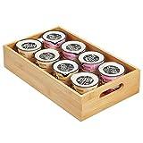 mDesign Caja organizadora con asas – Práctico cajón de madera para almacenar alimentos, especias, nueces o botellas – Organizador de cocina abierto en madera de bambú – color bambú