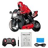 Demeras 1: 6 RC Moto Toy Niños Control Remoto Drift Moto Toy 2.4Ghz Racing Motorbike Toys con giros de 360 ° y Flip para niños, niños(Rojo)