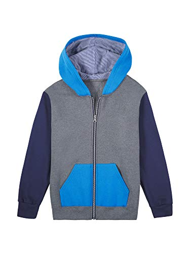 Fruit of the Loom Boys' Fleece Full Zip Hoodie Sweatshirt, Charcoal Heather/Ghost Pacific Blue/Times Square Navy Stripe, Medium