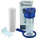 FILTROTECH Filter 10 Zoll Anschluss 1' für Hauswasserwerk GartenPumpe Wasserfilter mit Filtereinsatz