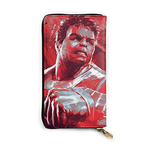 Hulk Cartera de cuero multifuncional de alta capacidad RFID patrón de impresión cremallera carteras largo titular de la tarjeta de crédito para hombres mujeres