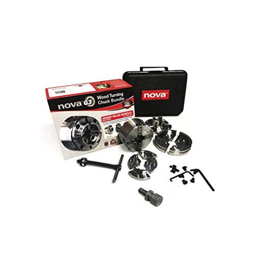 Nova TK-48246 Direct Thread 1 Inch Small Wood Turning Chuck Bundle Set with Automatic Jaw Safety...
