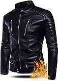 LILIXINGSH Giacca Moto Uomo Giacca in Pelle Artificiale for Uomo Giacca con Cerniera Multi-Tascabile Autunno e Inverno Giacca da cicallo in Stand-up Antivento (Color : Black, Size : 4XL-4XLarge)