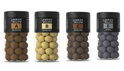 Lakrids By Bülow Set A- The Original, B- Passionsfruit, C- Coffee Kieni & E- Salmiak, 4 x 295g