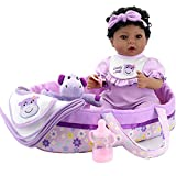 Aori Black Reborn Baby Doll Purple Bassinet 18 inch Lifelke Baby Girl Doll in Soft Vinly and Weighted Body with 8-Piece Gift Set