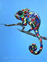 PLLP ノベルティフレームレスウォールはホーム回廊リビングルームベッドルーム装飾用のシンプルな絵画ブルー背景パターンデザインアート写真現代のポスターウォール上、塗装キャンバス手の油絵、トカゲ動物絵画,80X120Cm(32X48Inch)いいえフレーム,80X120Cm(32X48Inch)いいえフレーム