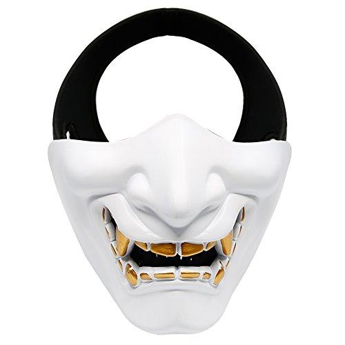 aoutacc Softair Maske, Evil Demon Monster Half Face Masken für Masquerade Ball, Party, Halloween, CS Krieg Spiel, BB Gun, weiß