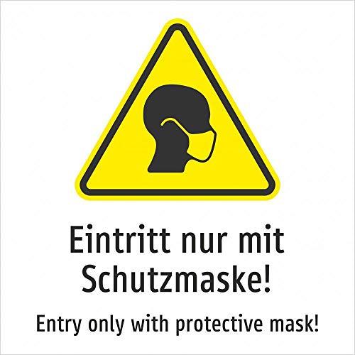 Eintritt nur mit Schutzmaske! Deutsch und Englisch (gelb) - 200 x 200 mm, Aufkleber