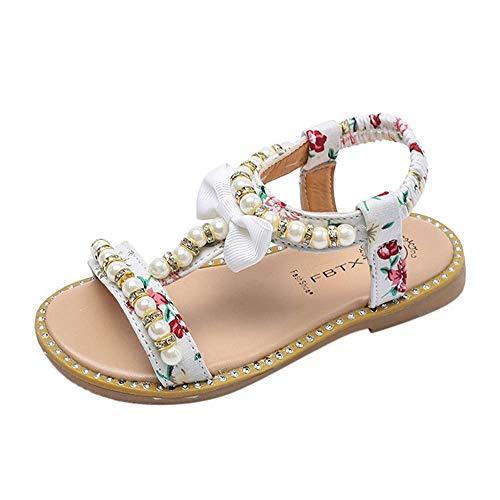 CixNy Sommerschuhe Damen Sommer Kinderschuhe Kinder Baby Mädchen Sandalen Bowknot Perle Kristall Römische Sandalen Lauflernschuhe Elegante Vintage Flats Bequem Prinzessin Schuhe Rosa Schwarz Weiß