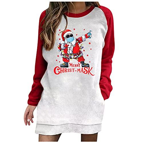 BIKETAFUWY Vestido de Navidad para mujer, diseo de reno de Navidad, con impresin Ugly, vestido de manga larga, con bolsillos, Rojo: 8, S