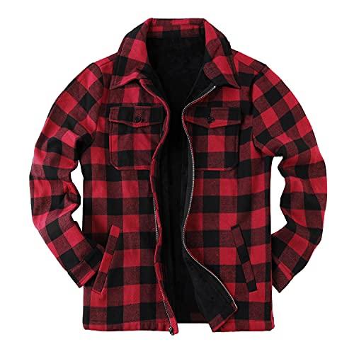 cappotto uomo a quadri Giacca da uomo a quadri Sherpa a quadri foderata in flanella cappotto manica lunga con zip casual inverno cappotto cappottino