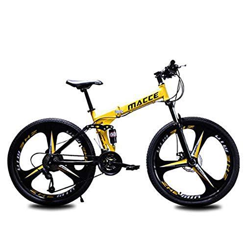 B-D Mountain Bike Pieghevole per Adulti, Mountain Bike da 24/26 Pollici con Doppio Freno A Disco Telaio in Acciaio al Carbonio Bicicletta MTB,Giallo,24inch