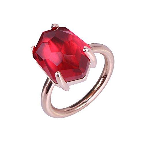 KELITCH Mujeres 18k Chapado en Oro Rosa Lava Rojo Cristal Piedra Preciosa Anillo - Tama?o (USA) 9 / (ES) 19, 20