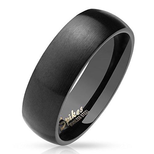 Anello in acciaio inossidabile nero, aspetto spazzolato, finitura opaca, lucido all'interno, 6 mm, taglia da 10 a 20, unisex e Acciaio inossidabile, 24, cod. R027K-6-11