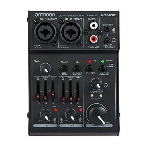 ammoon Mini Consolle Mixer 2 Canali Mixer Audio Scheda Audio EQ 2 Bande Integrato con Alimentazione Phantom 48 V e USB 5 V per Studio Recording DJ Karaoke