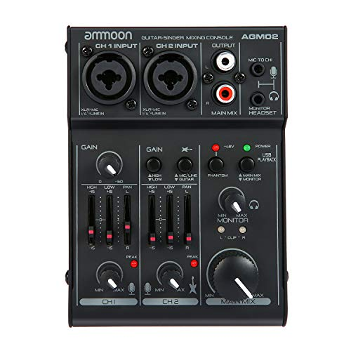 ammoon 2-Channel Mini Mixing Sound Card Console Digital Audio Mixer 2-band EQ Built-in 48V Phantom Power 5V USB Powered for Home Studio Recording DJ Network Live Broadcast Karaoke
