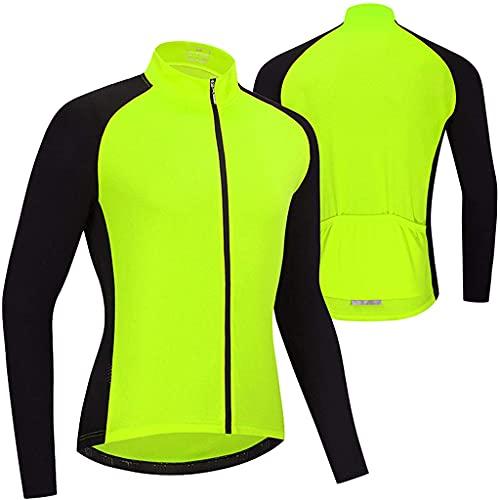 Gnaixyc Maillot de ciclismo para hombre, manga larga, para primavera, verano, ciclismo, transpirable, de secado rápido, chaqueta de bicicleta, abrigo de bicicleta para deportes al aire libre, verde, L