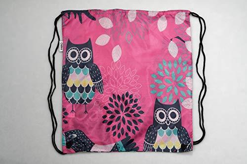 Chilino Eule rosa bunter Faltbarer Rucksack/Backpacker/Turnbeutel, 100% Polyester, 43 x 39 cm