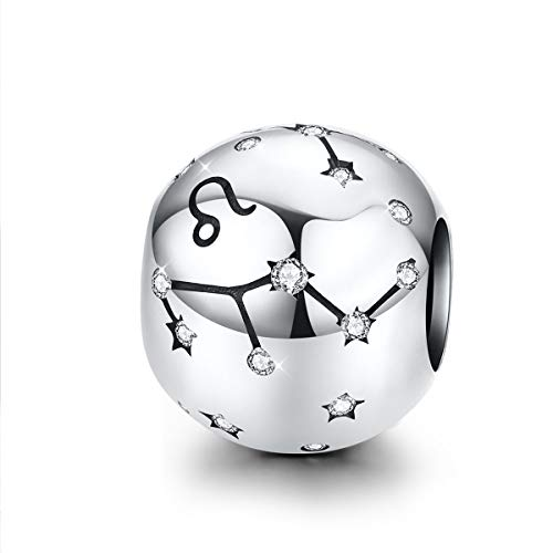 Charm-Anhänger Löwe/Sternzeichenanhänger Sterling-Silber 925 12 Sternzeichen Zirkonia kompatibel mit Pandora Armband und Halskette Leo(7.23-8.22)