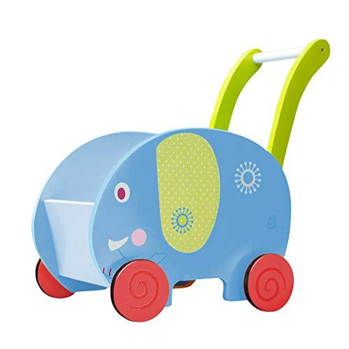 labebe Kinder Lauflernwagen Holz Blau Elefant Lauflernhilfe Kinderwagen Aktivität Walker Push Pull Spielzeug für 1-3 Jahre