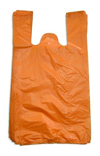 1000 Stück stabile Hemdchentragetaschen/Einkaufstüten 30+18x55 cm (B+TxH) - 14 my in orange