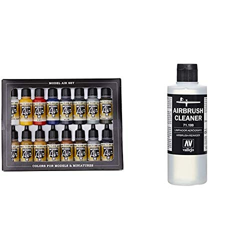 Vallejo Model Air Set - Set de pintura acrílica (16 unidades), multicolor + 71.199, Limpiador Aerógrafo - 200 ml