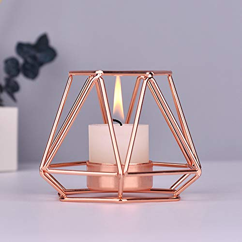 KOBWA Metal Tea Light Candle Holders Geometric Metal Wire Iron Tea Light Candle Holder Lantern Wedding Holidays Events Party Decorations (Rose gold, M)
