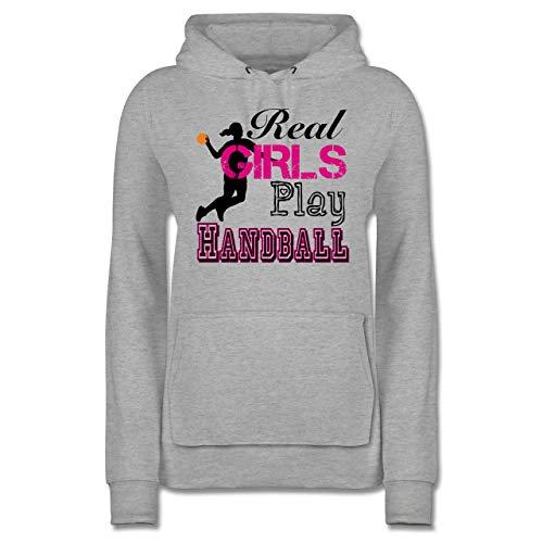 Handball - Real Girls Play Handball - L - Grau meliert - Geschenke für Frauen - JH001F - Damen Hoodie und Kapuzenpullover für Frauen