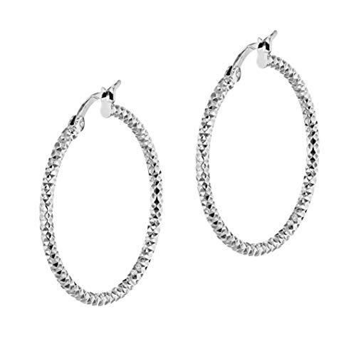 Tuscany Silver Pendientes Aro para Mujer en Plata de Ley Chapada en Rodio con Corte Diamante - 50mm