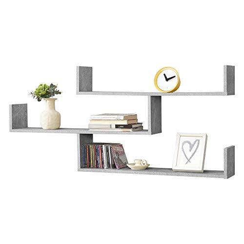 Mensola da Parete/da Muro con 3 Ripiani a Forma di U 119 x 18 x 55 cm Scaffale/Libreria/Consolle Pensile Portaoggetti - Effetto Cemento