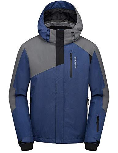 BALEAF Men's Ski Snow Jacket Windproof Waterproof Winter Coat Fleece Lined Snownorad Jacket with Utility Zipper Pockets Blue/Black/Gray Size M