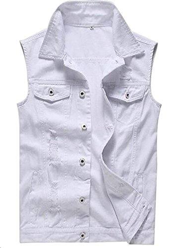 Only Faith Men's White Jeans Vest Fashion Sleeveless Denim Jacket with Holes (L)