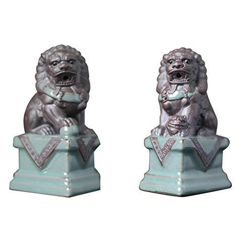 HYBUKDP Estatuas Tamaño pequeño Cerámica Fu perros de Foo del león del guarda estatuas del Ministerio del Interior Decoración mejor estreno de una casa de felicitación regalo for alejar el mal de Ener