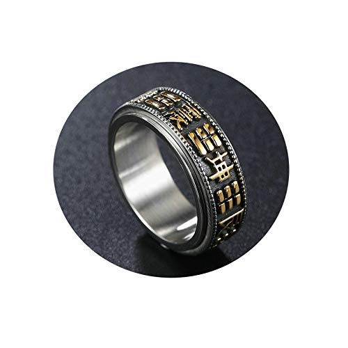 Ubestlove Ladies Eternity Rings Six-Word Mantra Can Turn Yin and Yang Ring Rings Little Girls Rings Fashion Ring Gold R 1/2