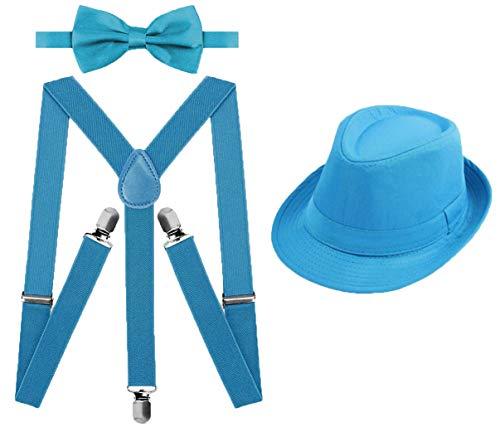 Juego 3 de Tirantes Elsticos Pajaritas Ajustables y Sombrero de Copa para Nios Adultos Fiesta Carnaval (Celeste, Pack nio/sombrero 54cm)