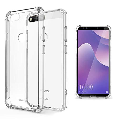 Moozy Transparent Silikon Hülle für Huawei Y7 2018 - Stoßfest Klar TPU Hülle Handyhülle Schutzhülle