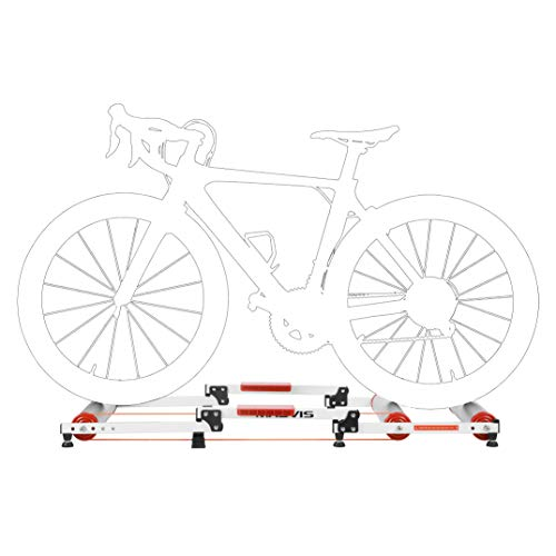 MASVIS Bike Roller Trainer Foldable Indoor Bicycle Roller Riding Platform Adjustable Aluminum Alloy Rollers Trainer for MTB Road Bike, White