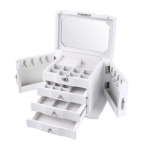 Adesign Caja de joyería para Mujer, Caja de Almacenamiento de Joyas de tamaño Mediano de 4 Capas con Cerradura.Caja de joyería de Viaje portátil para Pendientes Anillos de Pulseras