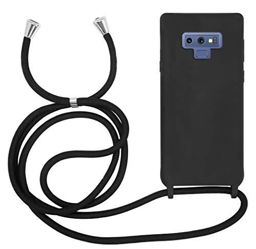 MyGadget Funda con Cuerda para Samsung Galaxy Note 9 - Carcasa Transparente en Silicona TPU Suave con Cordón - Case y Correa Colgante Ajustable Negro