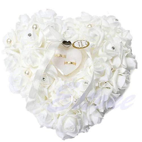 lulongyansf 1Pc Herz-Form Rose Blumen Ring-Kasten Romantische Hochzeit Fall-Ring-Träger Kissenhalter Dekor Schmuck