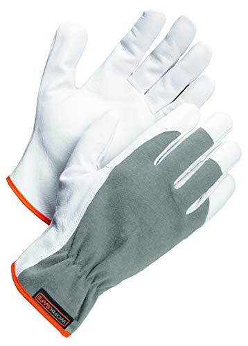 Worksafe Arbeitshandschuhe Ziegenleder, Montagehandschuhe A10-111 – abriebfest, geschmeidig, 1 Paar, Gr. 11=XXL, weiß