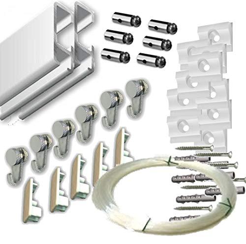 MARCS ARIAS SL Pack Basic RM de 6 Metros Guías de Aluminio (Blanco Mate) con 6 colgadores Nylon para Colgar Cuadros