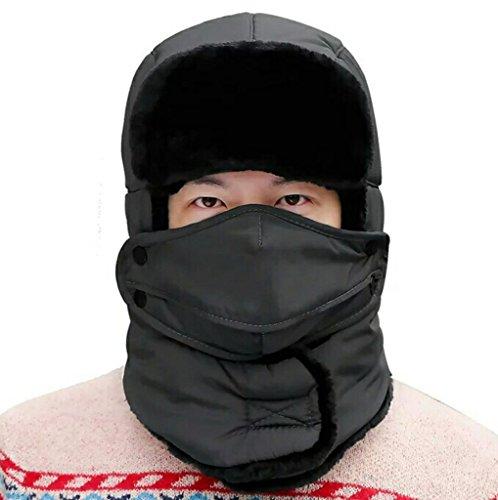 Geval Doublure en Fourrure Unisexe Faux Trapper Ski Chapeau avec Masque et du Cou Gaiter One Size Gris