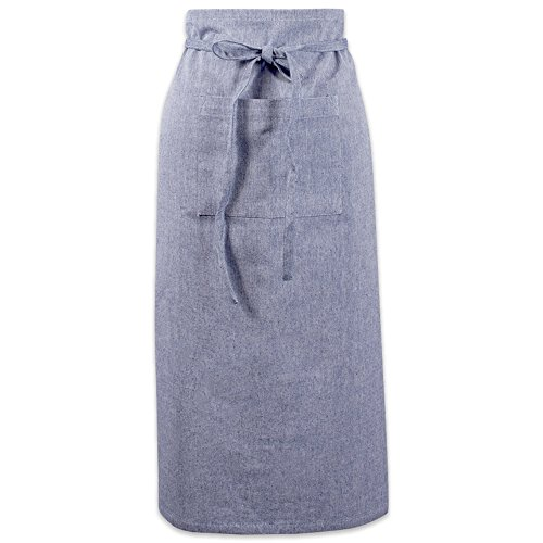 DII Cotton Chambray Bistro Half Waist Apron with Pockets and Extra Long Ties, 30 x 28
