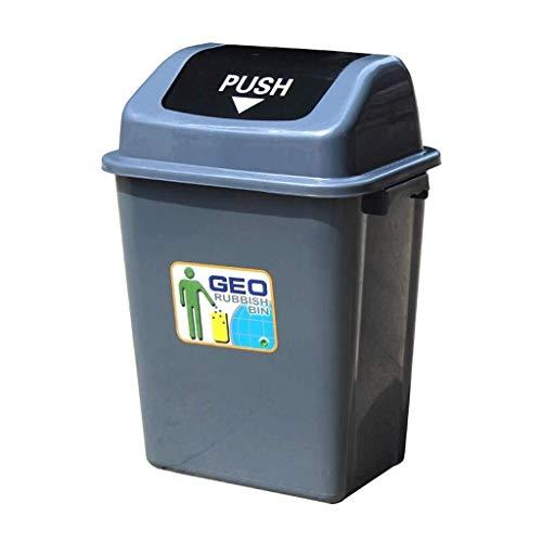 Pgs La basura al aire libre puede, de plástico rectangular industriales de gran volumen Shaker Cubo de la basura, Inicio de jardín Cocina al aire libre Reciclaje de plástico Cubo de la basura, gris, t