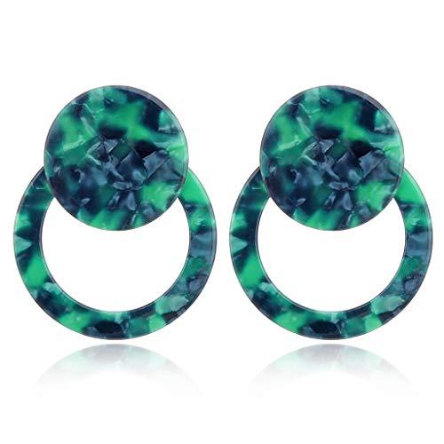 ruiruiNIE 1 para Acryl Runde Ohrringe Schildpatt Harz Ohrringe Marmoriert Tropfen Ohrringe für Frauen (Grün)