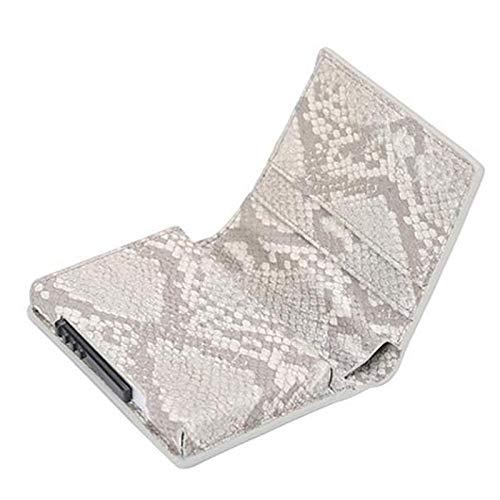Cartera minimalistaNueva Tarjeta Holder Monedero Metal Hombres Mujeres Caja Minimalista Monedero Moda Aluminio Bloqueo Monedero para Tarjetas Piel de Serpiente Gris